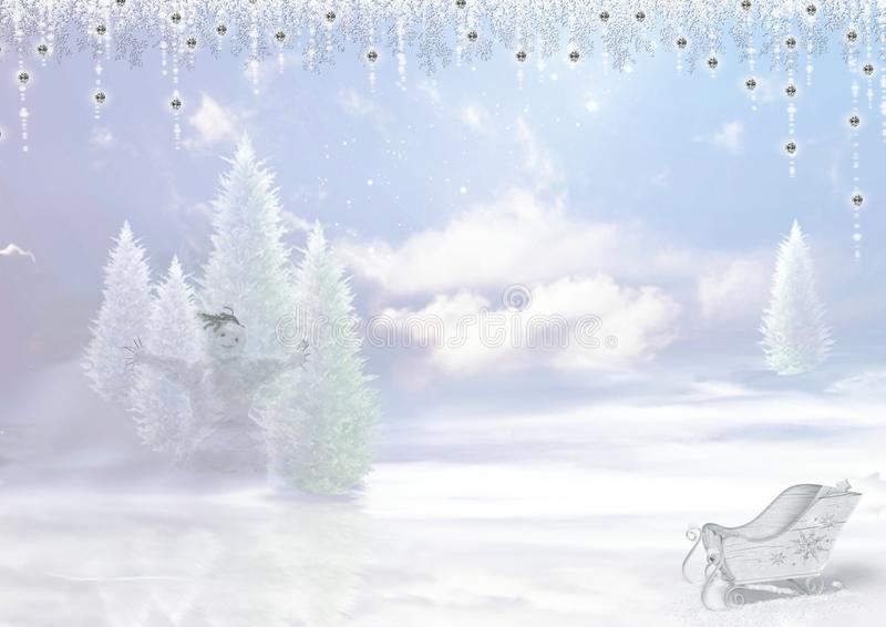 Fond de Noël arbre de Noël neigeux, bonhomme de neige, traîneau, clo illustration libre de droits