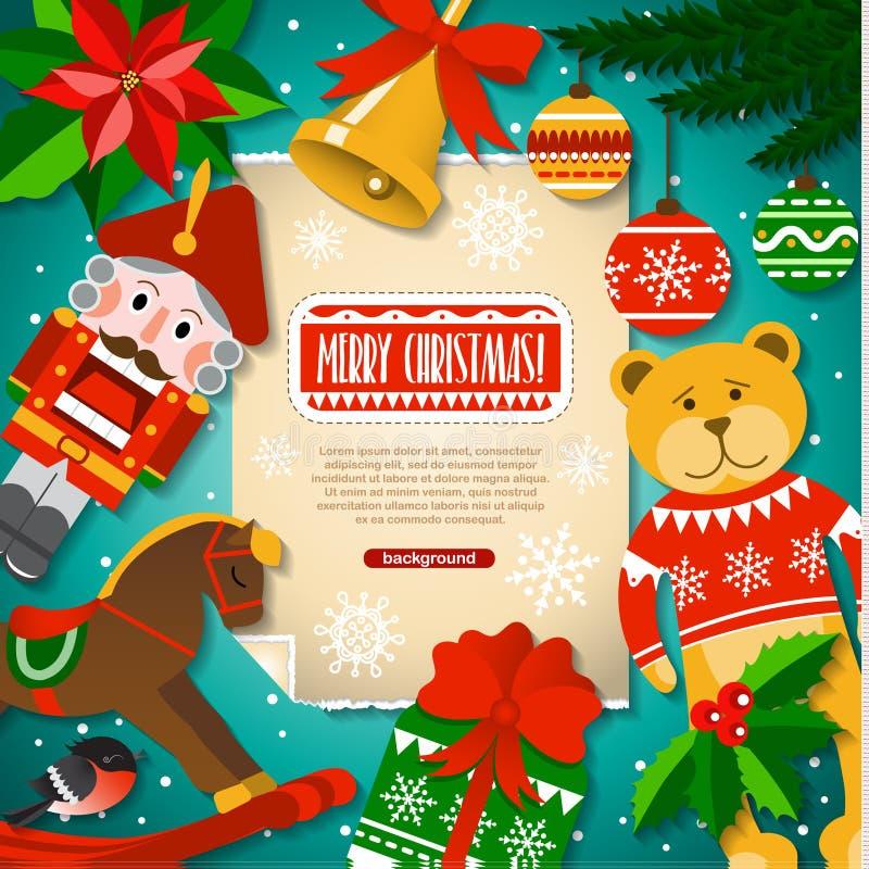 Fond de Noël avec des éléments, des jouets, des décorations et la neige de Noël dans le style de bande dessinée illustration stock