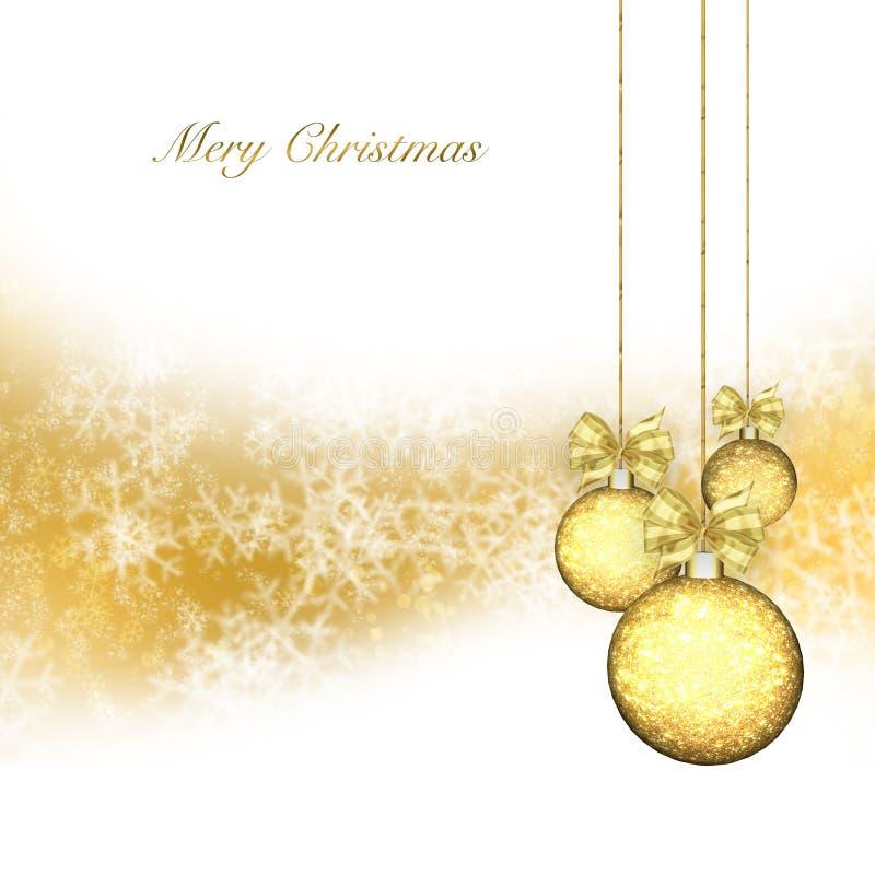Fond de Noël avec des babioles d'or illustration libre de droits