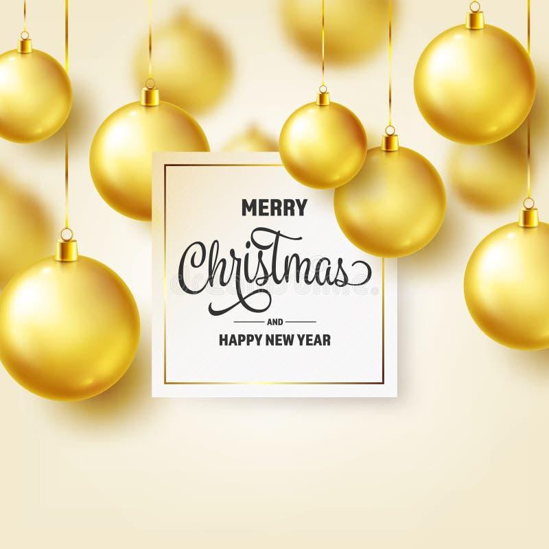 Fond de Noël avec des boules d'arbre Bille d'or An neuf Vacances d'hiver Décoration de vente de saison Cadeau de Noël d'or illustration libre de droits