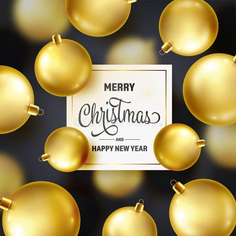 Fond de Noël avec des boules d'arbre Bille d'or An neuf Vacances d'hiver Décoration de vente de saison Cadeau de Noël d'or illustration de vecteur