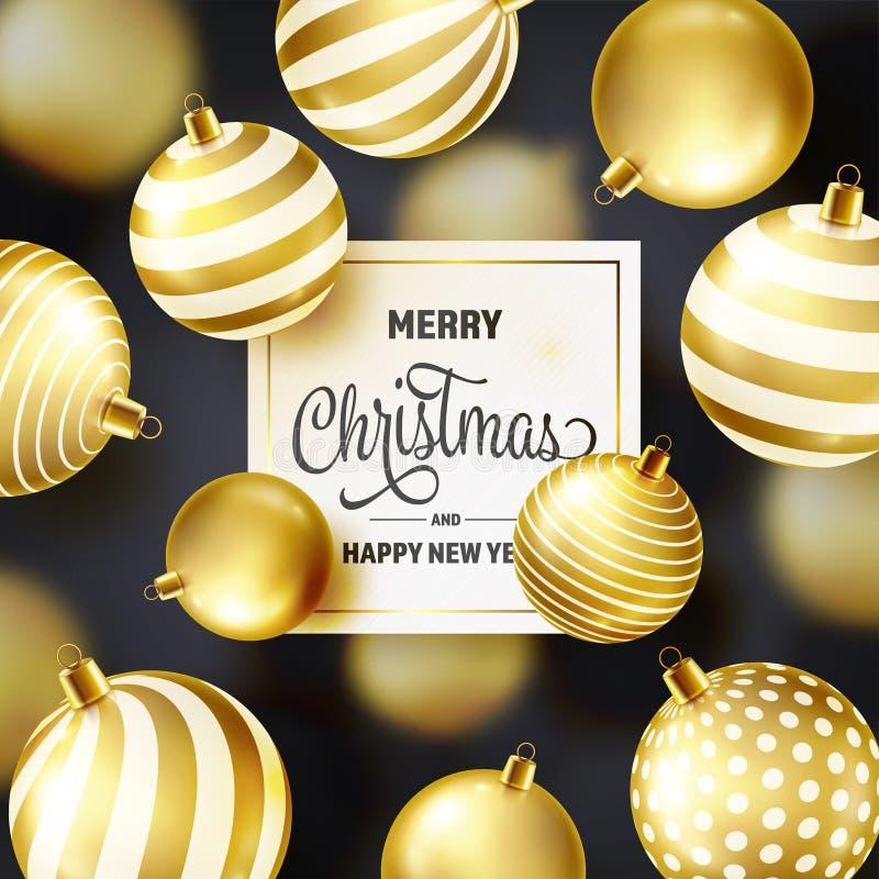 Fond de Noël avec des boules d'arbre Bille d'or An neuf Vacances d'hiver Décoration de vente de saison Cadeau de Noël d'or illustration stock