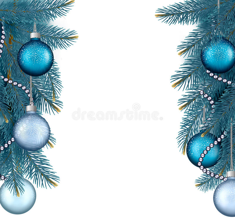 Fond de Noël avec des boules et des branches. illustration stock