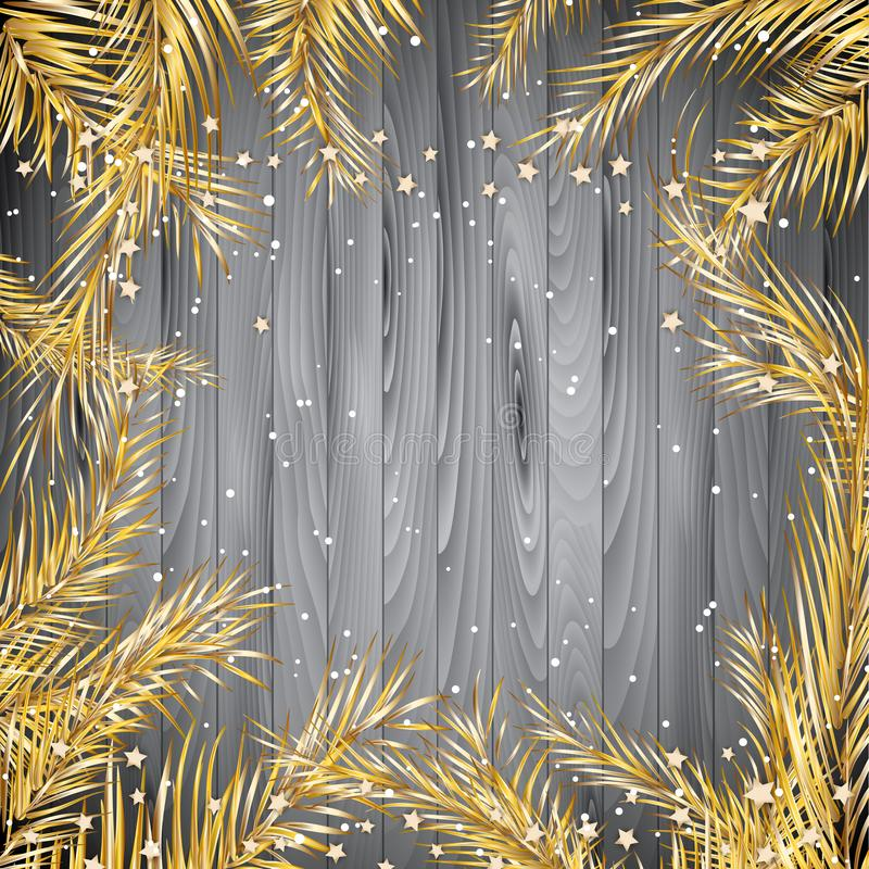 Fond de Noël avec des branches d'arbre de sapin d'or sur un tex en bois illustration stock