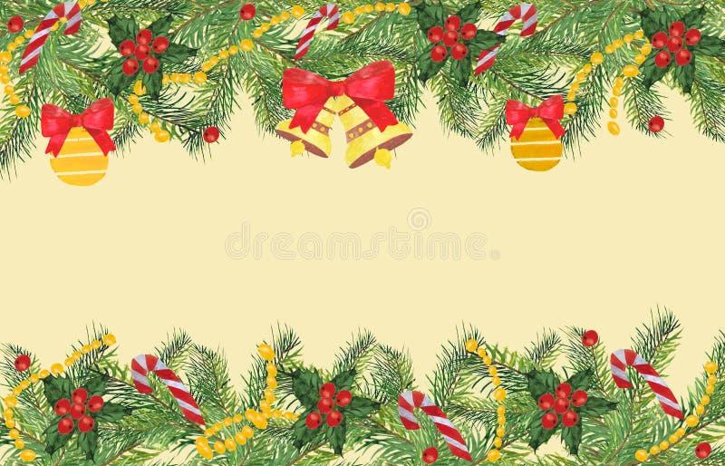 Fond de Noël avec des branches de sapin et des éléments décoratifs illustration de vecteur
