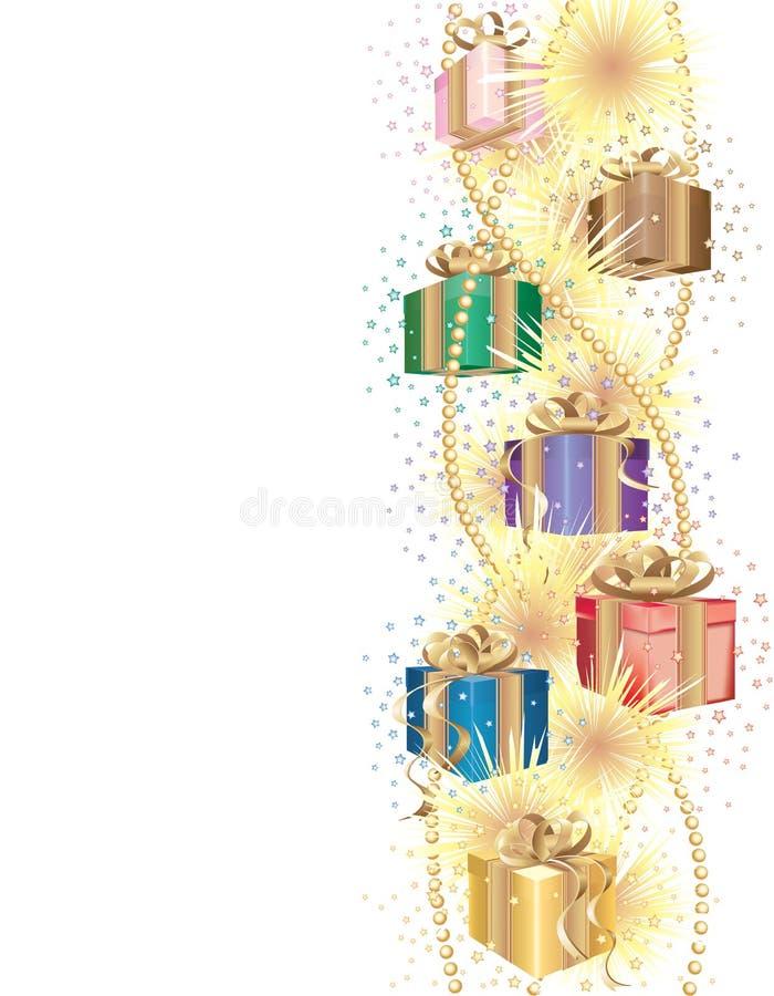 Fond de Noël avec des cadeaux illustration de vecteur