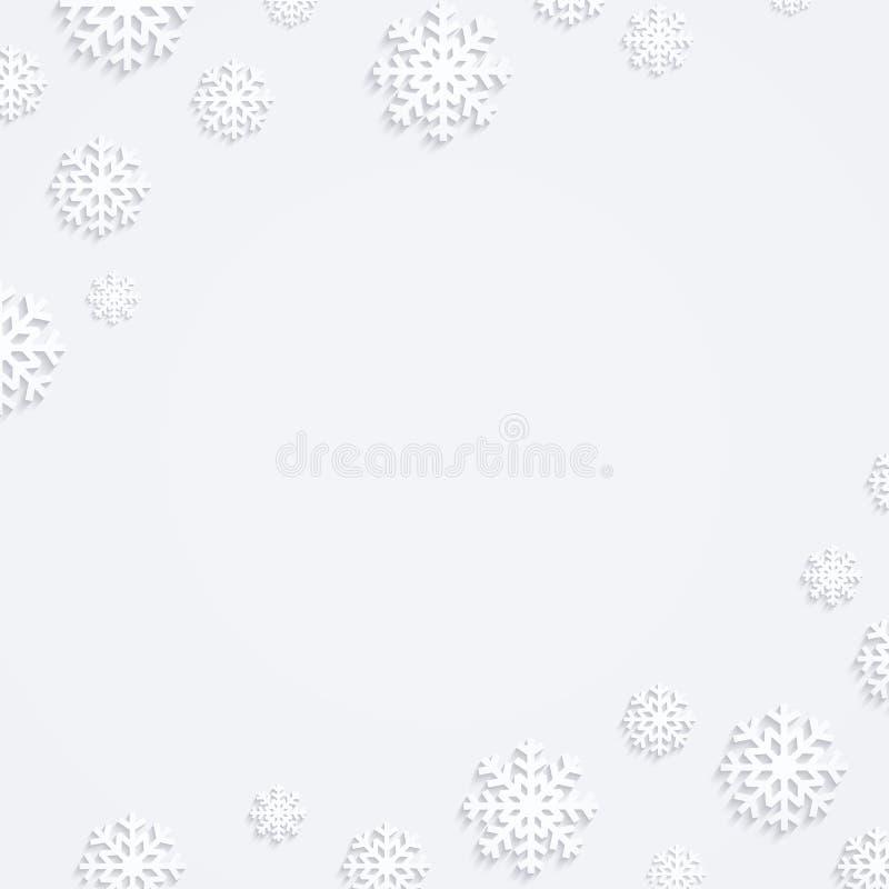 Fond de Noël avec des flocons de neige, composition en hiver, conception plate des flocons de neige, vue supérieure illustration libre de droits