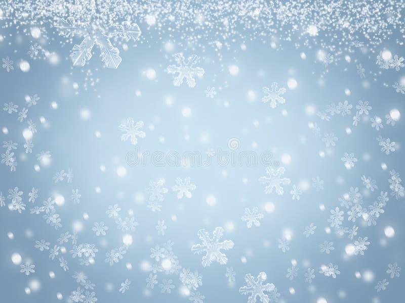 Fond de Noël avec des flocons de neige et des étoiles tombant en ciel d'hiver illustration stock