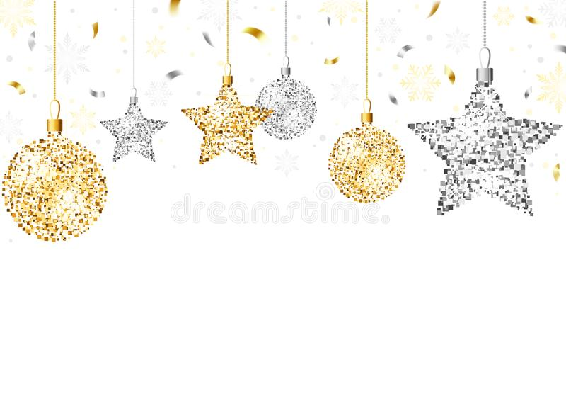 Fond de Noël avec des ornements de scintillement illustration libre de droits