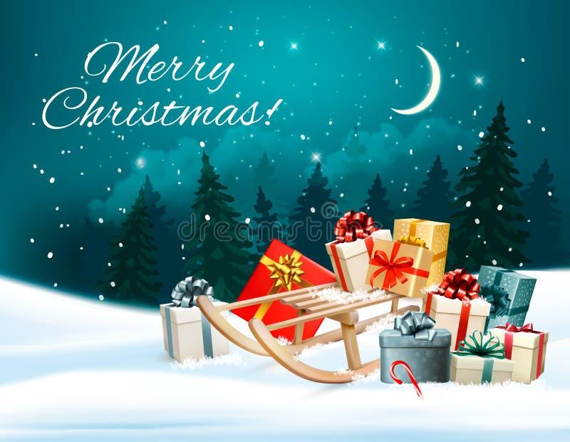 Fond de Noël avec des présents sur un traîneau illustration stock