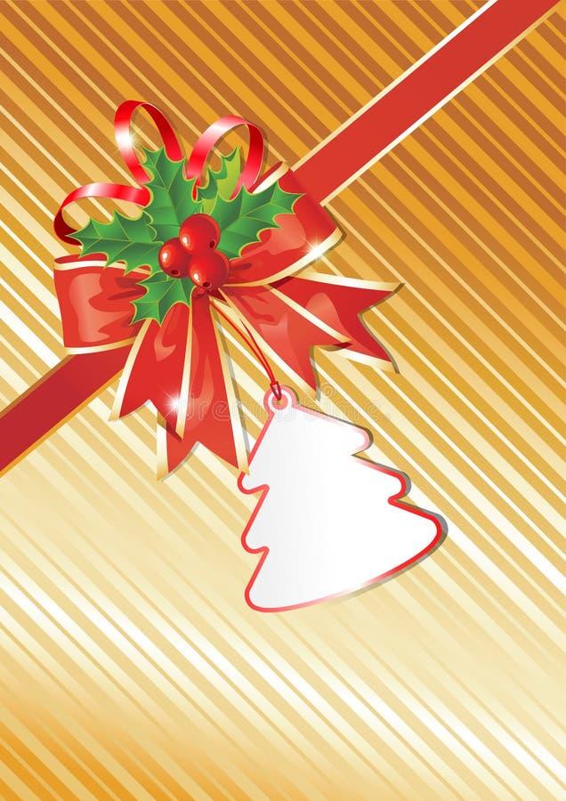 Fond de Noël avec l'étiquette de cadeau illustration stock