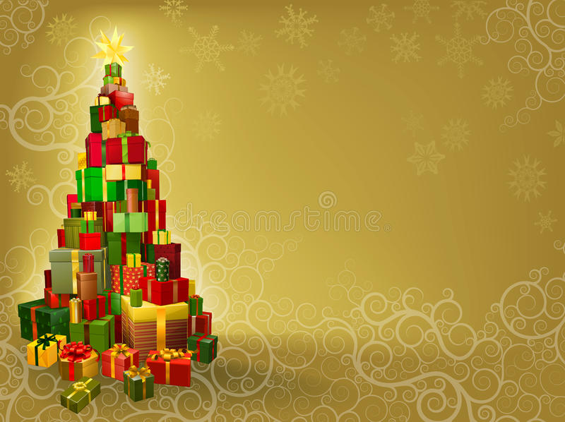 Fond de Noël avec l'arbre de cadeaux illustration libre de droits