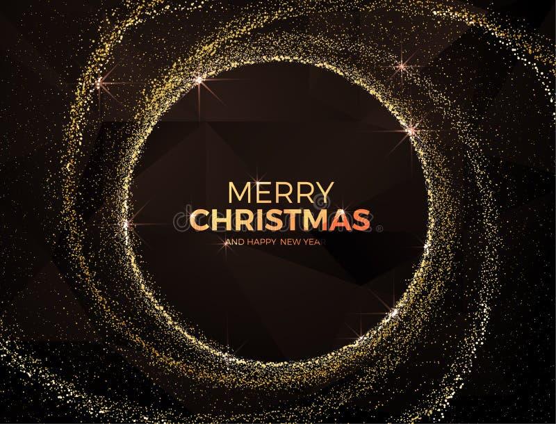Fond de Noël avec l'illustration magique de vecteur de la poussière d'étoile d'or illustration stock