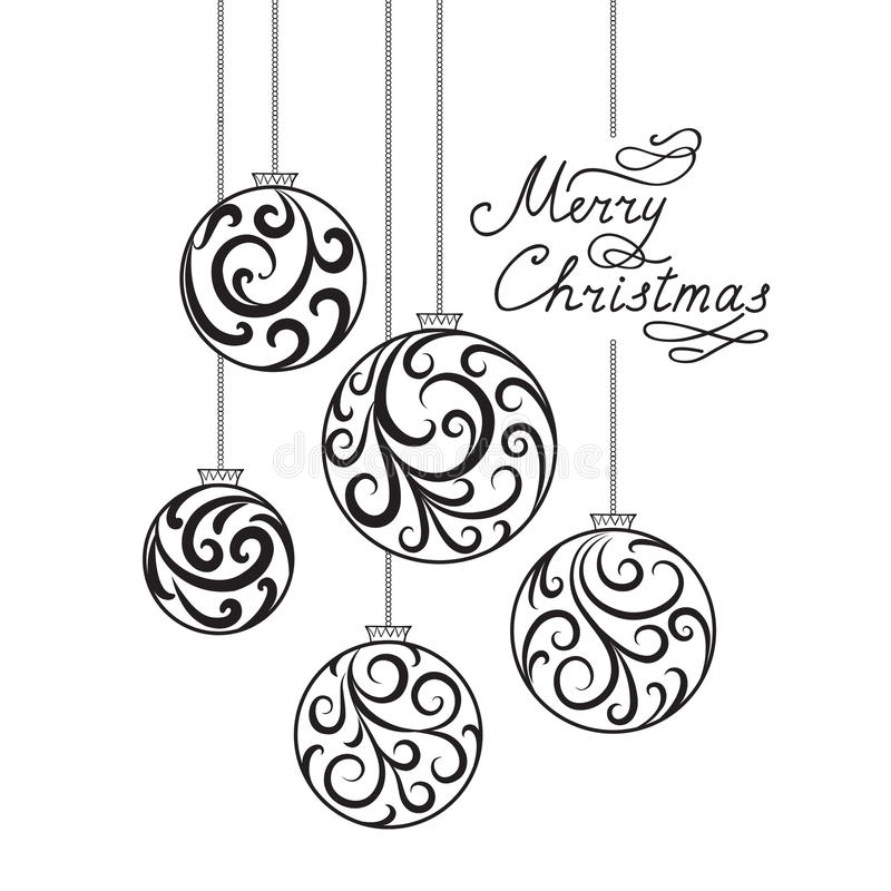 Fond de Noël avec la boule de griffonnage, MER de inscription manuscrit illustration libre de droits