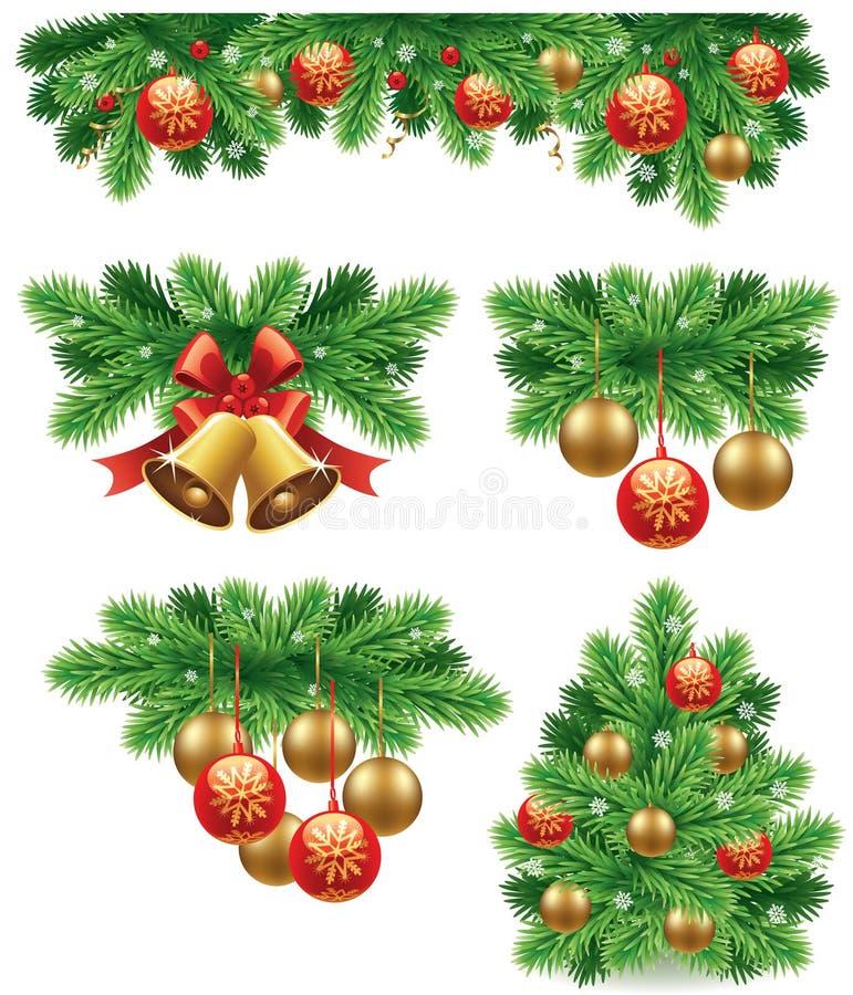 Fond de Noël avec la boule verte traditionnelle de décorations d'arc, cloches, rubans illustration stock