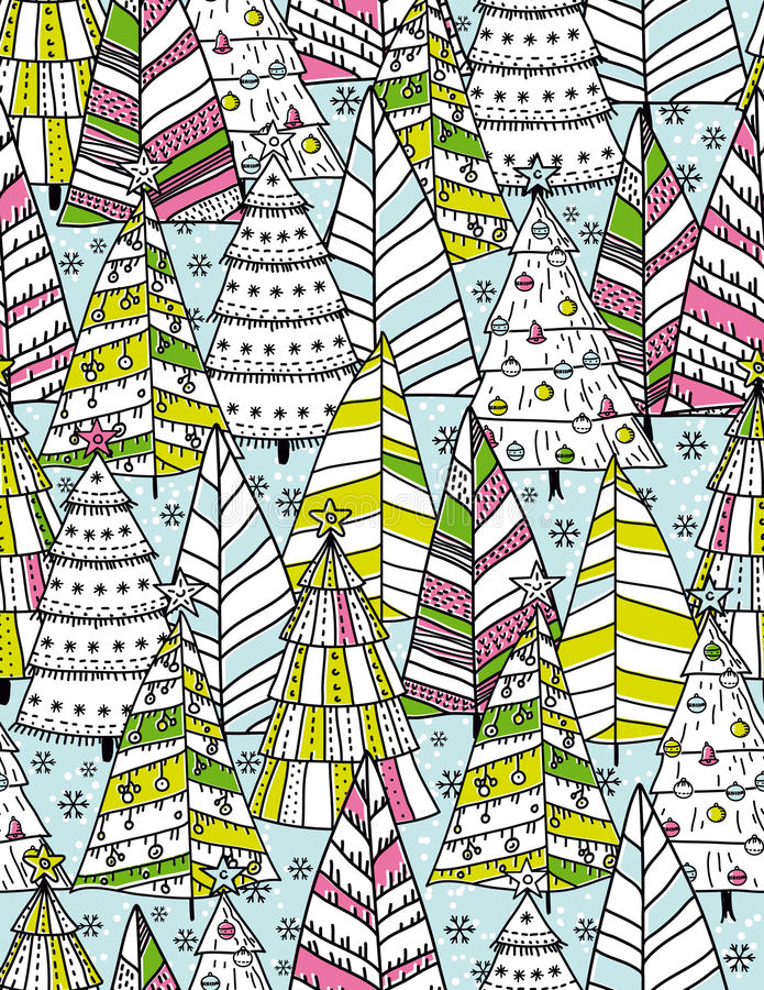 Fond de Noël avec la forêt d'arbres de Noël, vecteur illustration stock