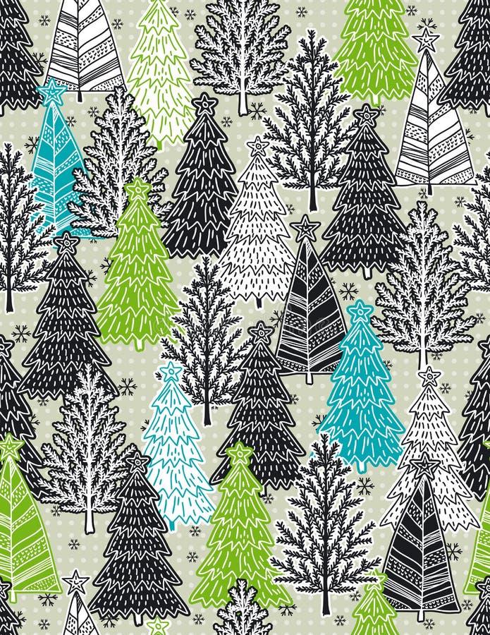 Fond de Noël avec la forêt d'arbres de Noël, vecteur illustration de vecteur