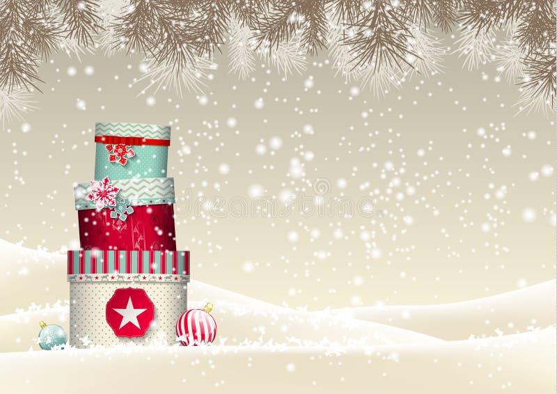 Fond de Noël avec la pile de coloré illustration libre de droits