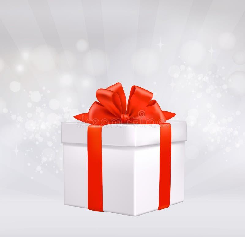 Fond de Noël avec le boîte-cadeau avec l'arc rouge. illustration de vecteur