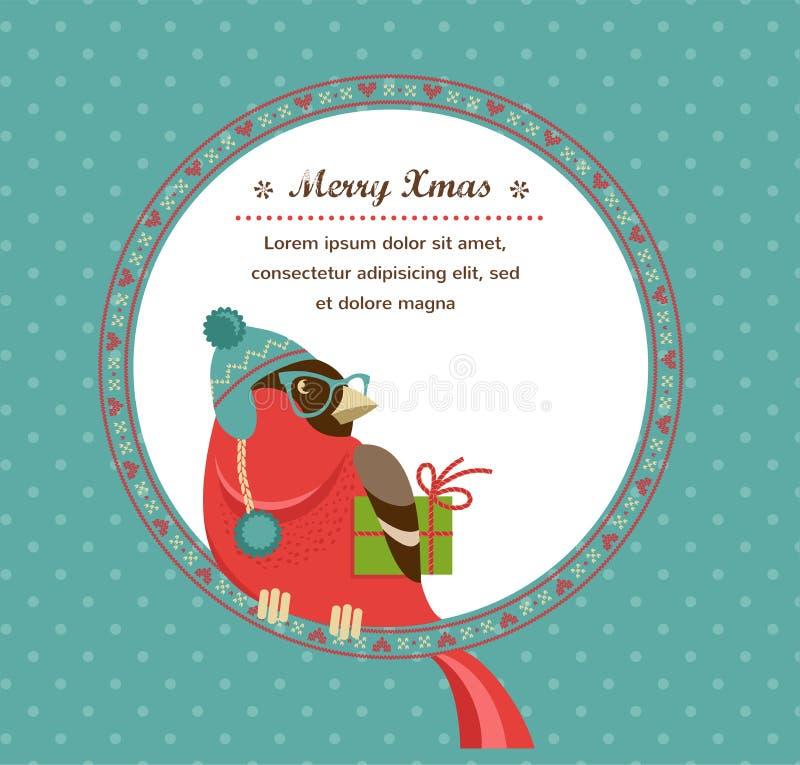 Fond de Noël avec le bouvreuil de hippie illustration de vecteur
