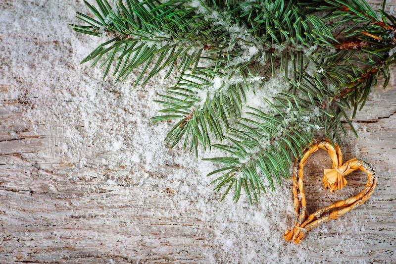 Fond de Noël avec le branchement de sapin photographie stock libre de droits