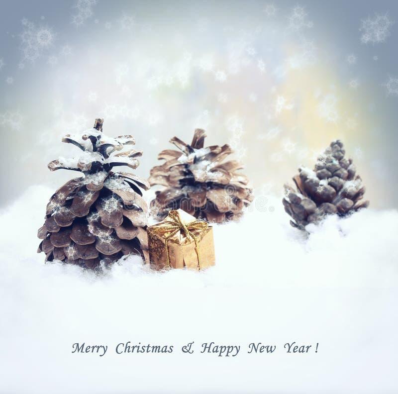 Fond de Noël avec le cadeau, cône d'arbre de sapin, chutes de neige photo stock