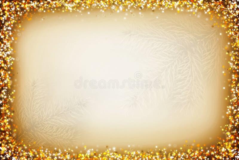 Fond de Noël avec le cadre abstrait d'or images stock