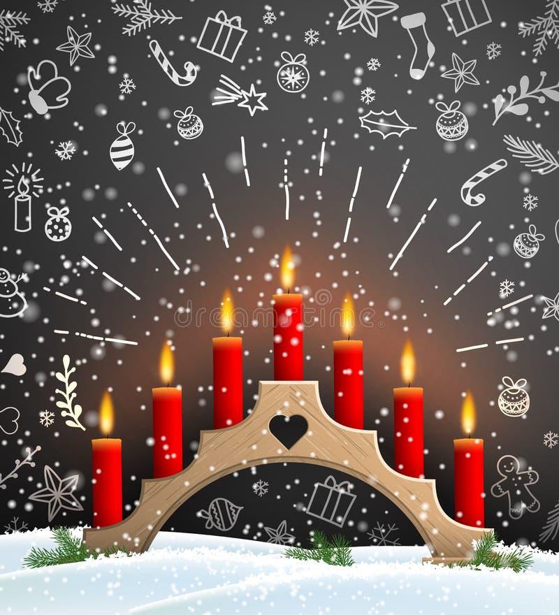 Fond de Noël avec le chandelier en bois et les bougies rouges illustration libre de droits