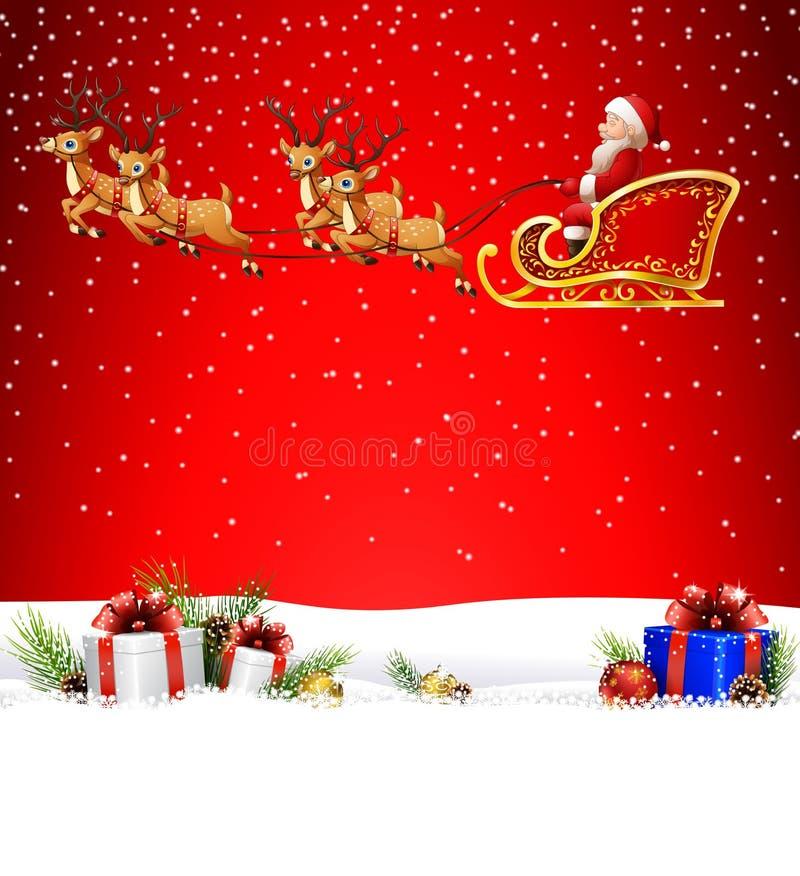 Fond de Noël avec le père noël montant sa dextérité de renne illustration libre de droits