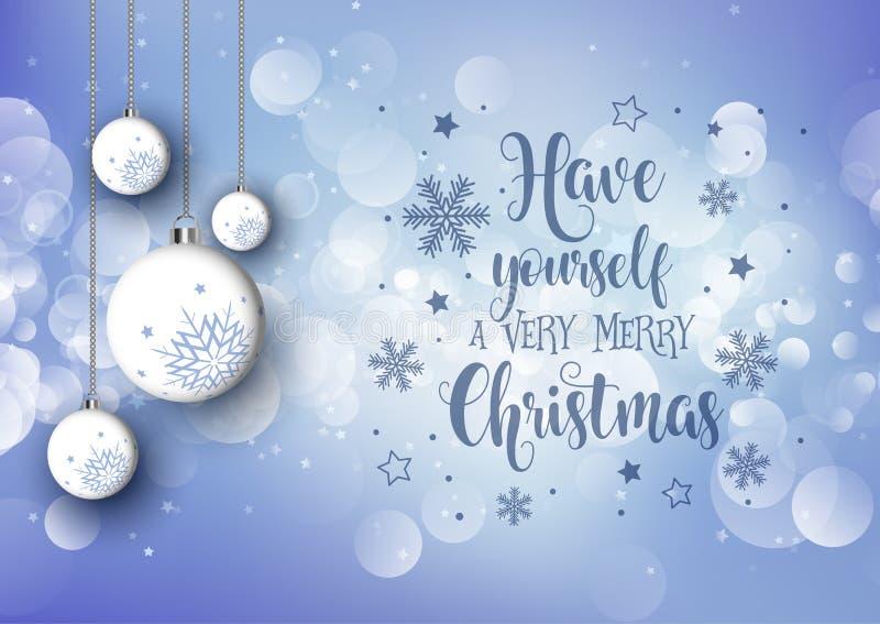 Fond de Noël avec les babioles accrochantes et le texte décoratif illustration libre de droits