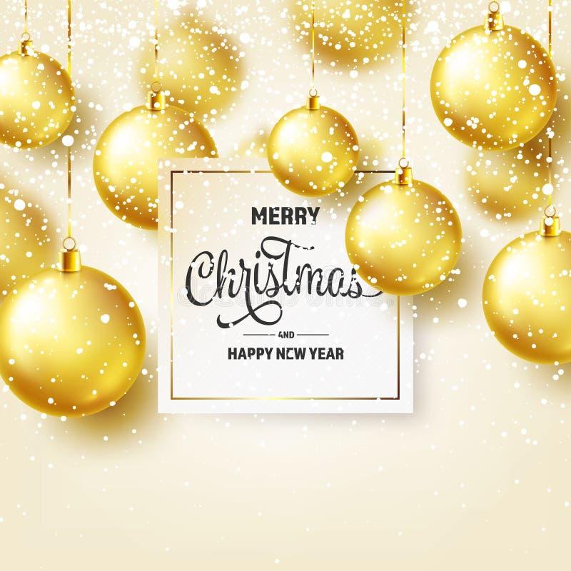 Fond de Noël avec les boules et la neige d'arbre Bille d'or An neuf Vacances d'hiver Décoration de vente de saison Noël d'or illustration stock