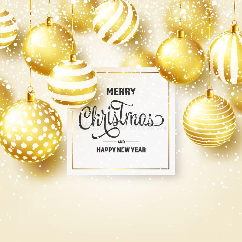 Fond de Noël avec les boules et la neige d'arbre Bille d'or An neuf Vacances d'hiver Décoration de vente de saison Noël d'or illustration libre de droits