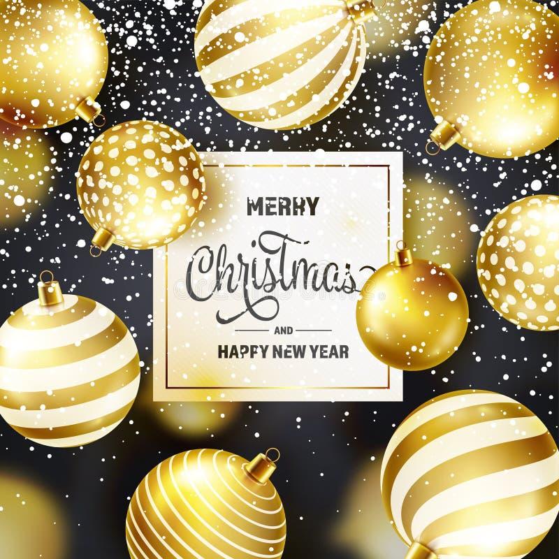 Fond de Noël avec les boules et la neige d'arbre Bille d'or An neuf Vacances d'hiver Décoration de vente de saison Noël d'or illustration de vecteur