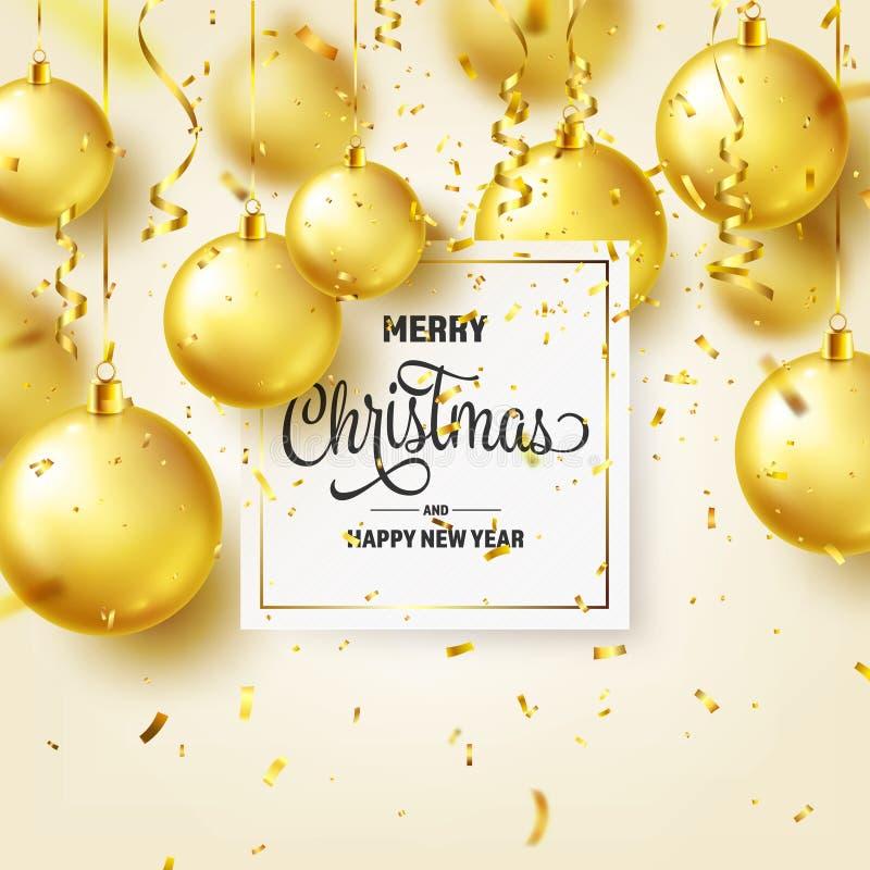 Fond de Noël avec les boules, le ruban et les confettis d'arbre Bille d'or An neuf Vacances d'hiver Vente de saison illustration libre de droits