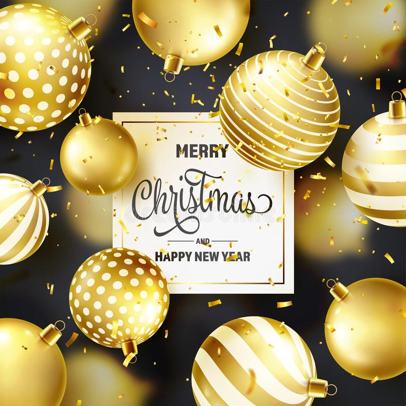Fond de Noël avec les boules, le ruban et les confettis d'arbre Bille d'or An neuf Vacances d'hiver Vente de saison illustration de vecteur
