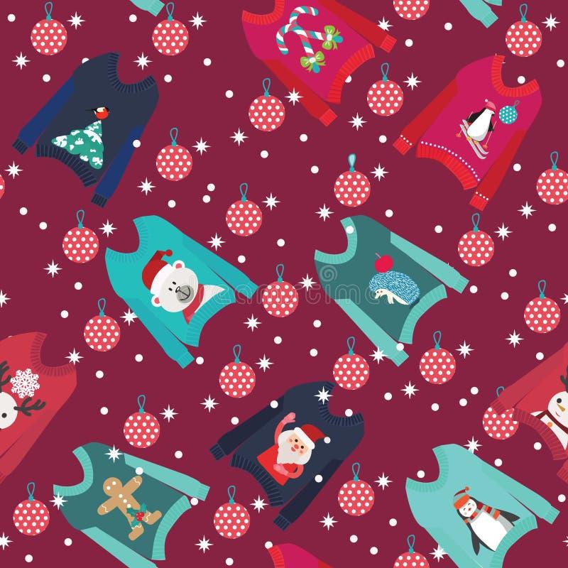 Fond de Noël avec les chandails laids mignons de Noël illustration libre de droits