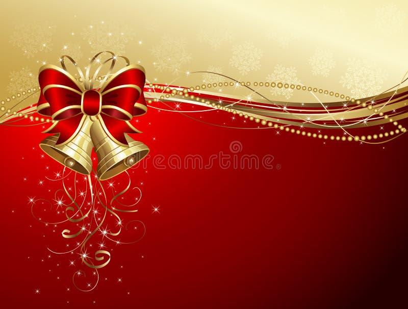 Fond de Noël avec les cloches et la proue illustration de vecteur