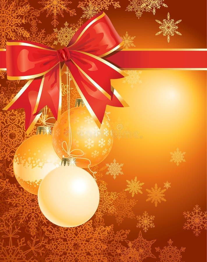 Fond de Noël avec les décorations et la proue illustration libre de droits