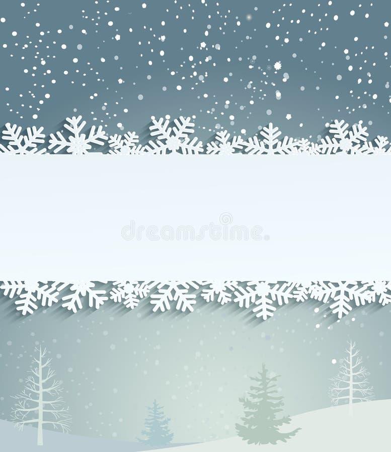 Fond de Noël avec les flocons de neige blancs illustration stock