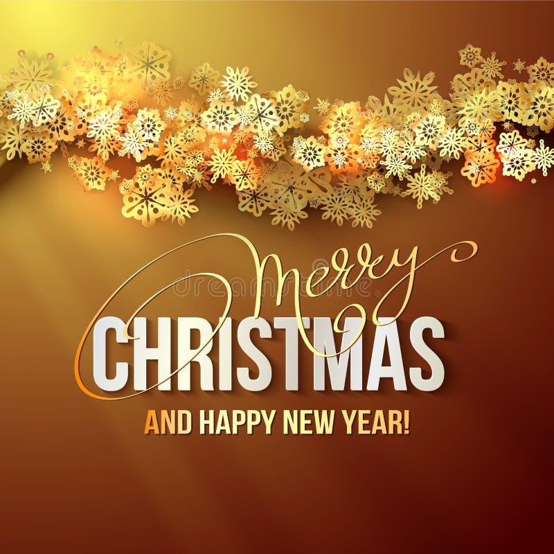 Fond de Noël avec les flocons de neige brillants d'or Illustration de vecteur illustration libre de droits