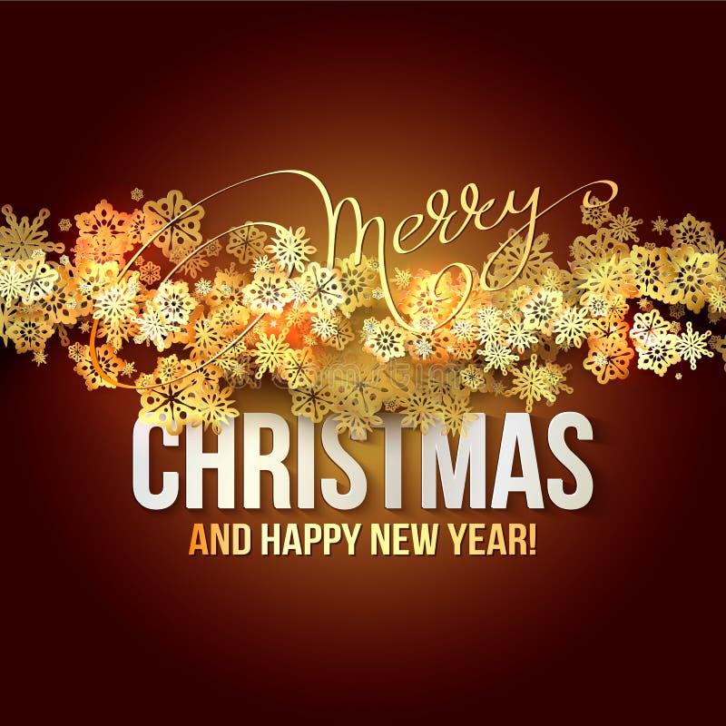 Fond de Noël avec les flocons de neige brillants d'or Illustration de vecteur illustration de vecteur