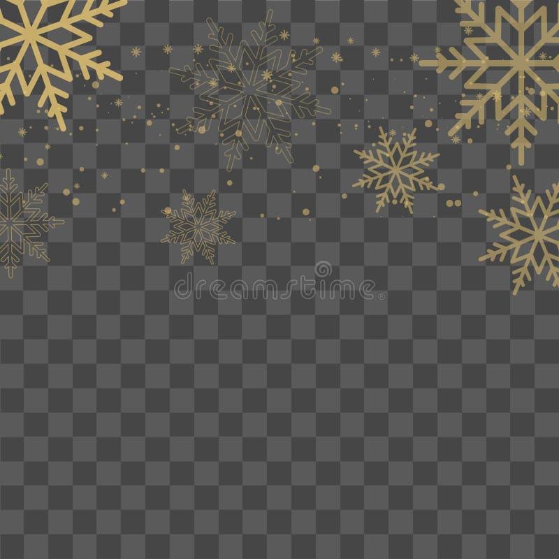 Fond de Noël avec les flocons de neige en baisse d'or sur le fond transparent Vecteur illustration stock