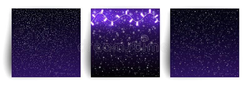 Fond de Noël avec les flocons de neige en baisse, guirlandes de lumières Fond de neige Ensemble de cartes de voeux de Noël illustration stock