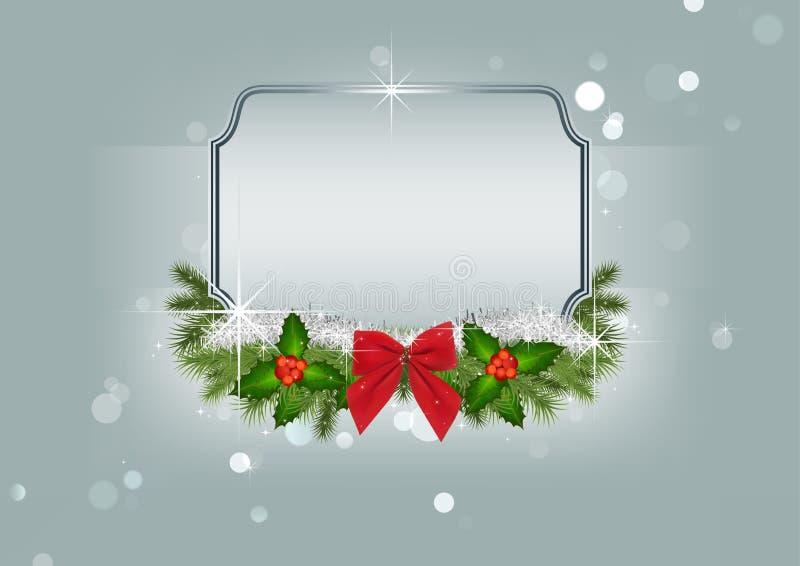 Fond de Noël avec les ornements et le cadre argenté illustration stock