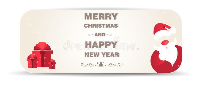 Fond de Noël avec Santa Claus et des cadeaux illustration libre de droits