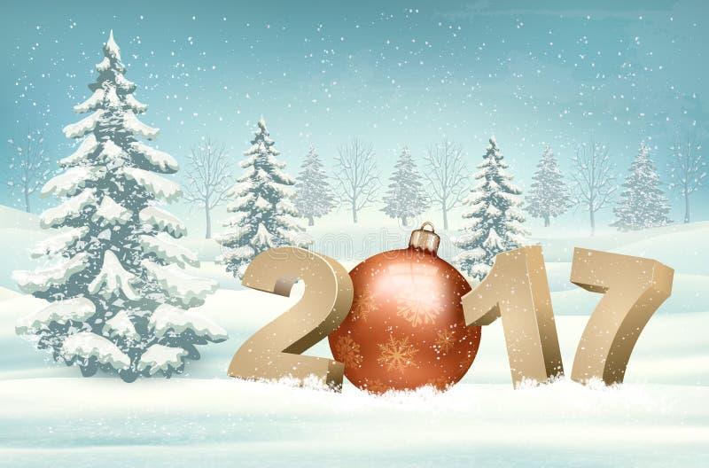 Fond de Noël avec un 2017 et une babiole illustration de vecteur