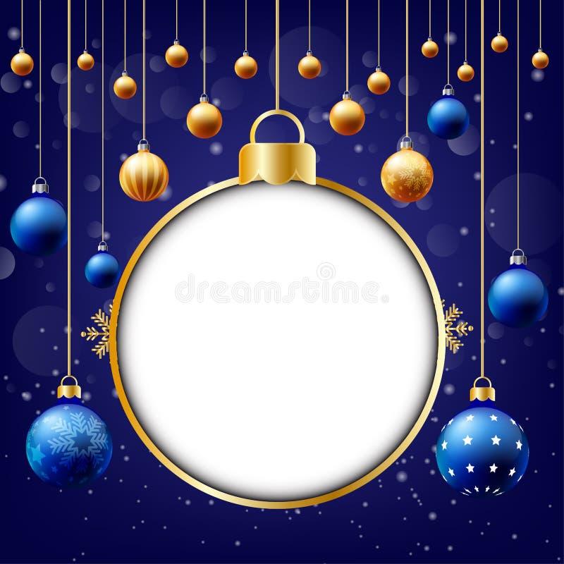 Fond de Noël, boîte de saisie des textes, fond bleu illustration libre de droits