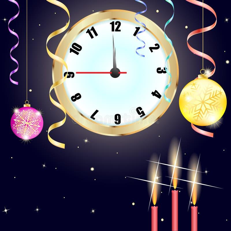 Fond de Noël Fond de bonne année avec l'horloge illustration de vecteur