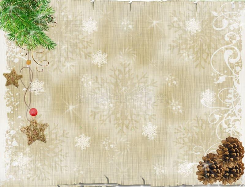 Fond de Noël Branche de pin, pendant, cônes de pin sur en bois illustration stock