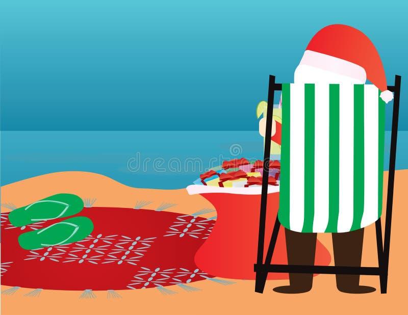 Fond de Noël d'été Le père noël dans la plage photographie stock libre de droits